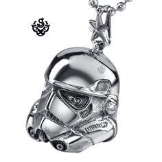 Silver Star Wars Stormtrooper Helmet Steel Necklace