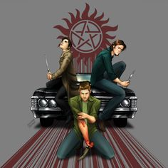 Three Blades by JustynaRerak for the Supernatural Design Challenge. This is one of my favorite pieces of Supernatural fan art.