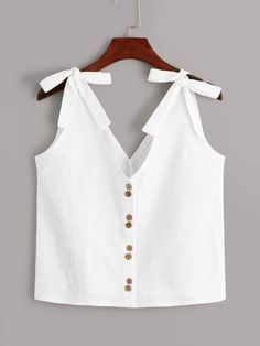 To find out about the Bow Tie Button Front Top at SHEIN, part of our latest Women Tops ready to shop online today!