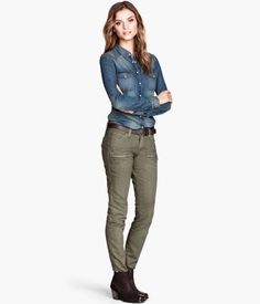 """Pair denim button-down with green khakis for an """"army"""" look. H"""