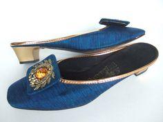 Vintage 1960s shoes / 60s blue & gold beaded fabric mules house shoes boudoir slippers UK 3 EU 36 US 5M
