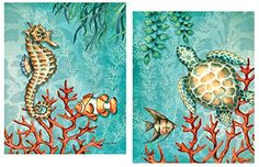 Sea Life Turquoise and Orange Under the Ocean Fish Turtle... http://a.co/1vAWeDB