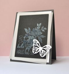 Kara Vrabel for WPlus9 featuring Watercolored Anemones stamp set, Greetings and Salutations stamp set, Small Butterfly Frame Die