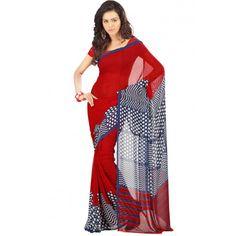 Georgette Red & White Printed Designer Saree - 2086B
