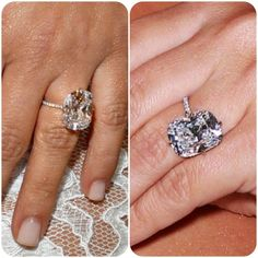 I'm no fan of the woman herself, but there's no denying that Kim Kardashian's engagement ring from Kanye is the stuff of dreams! #celebrityengagementrings