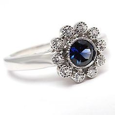 TIFFANY JEWELRY  WITH BLUE STONES | Tiffany & Co Flower Engagement Ring Blue Sapphire Diamond Solid ...