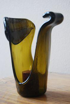Geschmolzene Wein FlascheKerzeHalter von HarrachGlass auf Etsy