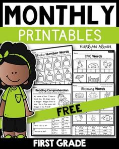 My monthly Math and Literacy packets have recently received major makeovers! In… You are in the right place about Montessori Activities winter Here we offer you the most beautiful pictures about the M First Grade Writing, Teaching First Grade, First Grade Classroom, 1st Grade Math, Grade 1, First Grade Curriculum, First Grade Worksheets, School Worksheets, First Grade Freebies