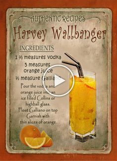 Harvey Wallbanger Cocktail - Health and wellness: What comes naturally Drink Bar, Liquor Drinks, Cocktail Drinks, Cocktail Recipes, Alcoholic Drinks, Beverages, Alcohol Drink Recipes, Halloween Drinks, Summer Drinks