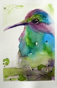 Hummingbird Original Watercolor Painting Bird Art by dawndermanart