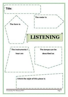 FREE Download!!    This is a one page worksheet designed to guide students responses after listening to a piece of music