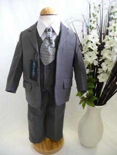 Vivaki 'George' Grey & White 5 Piece Formal Suit