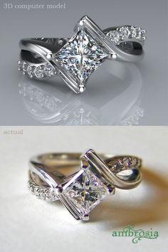 Custom designed Princess cut diamond engagement ring. The princess cut was rotated called a ballpark setting. #ambrosiajewelry #princesscutring