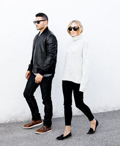 Black jeans, white turtleneck, and chic flats. #JBRANDenimDuos #ad