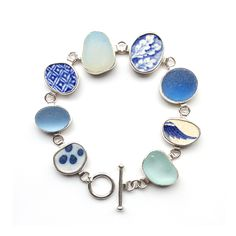 Pottery Shard and Sea Glass Bracelet by Tania Covo