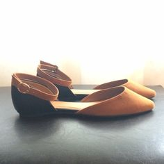 Black/Brown Pointed Toe Flats with Ankle Straps Brown suede toe with black faux leather heel. Worn only once. Bamboo Shoes Flats & Loafers