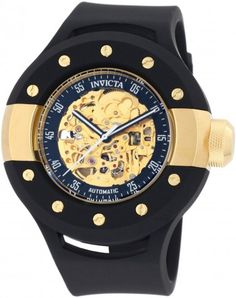 Invicta 0868 Gold Tone and 18K Gold-Plated Stainless Steel Crown Automatic Skeleton Watch For Men