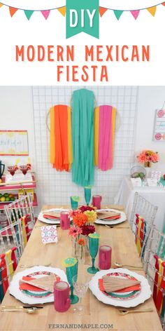 These classy and colorful DIY ideas for a Mexican fiesta are perfect for a Cinco de Mayo party, a shower, a birthday party, or any occasion! With decor, drink, food ideas and more. Get details now at fernandmaple.com!