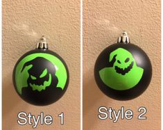Items similar to Jack Skellington Nightmare Before Christmas ornaments halloween skull sally tim burton hand painted ball ornament mayor oogie boogie zero on Etsy Scary Halloween Decorations, Halloween Ornaments, Diy Christmas Ornaments, Christmas Tree Decorations, Christmas Bulbs, Halloween Prop, Halloween Witches, Christmas Windows, Fiestas