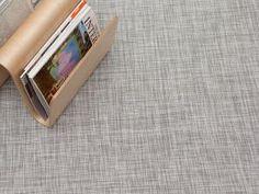 Woven Floor Mat in White Silver Ikat