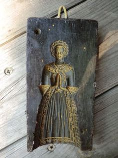 German black wax casting (reverse) from springerle mold