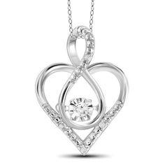 Jewelonfire Sterling Silver White Diamond Accent Infinity Heart Pendant (White), Women's, Size: 18 Inch