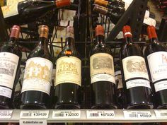 Some expensive wines including Lafite Rothschild and Chateau Haut-Brion.
