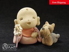 Etsy のCeramic Jizo And Yorkshire Terrier, Kawaii Zen Ceramic Doll , Japanese Kimono Style, Free Shipping(ショップ名:ShinobuArakiArt)