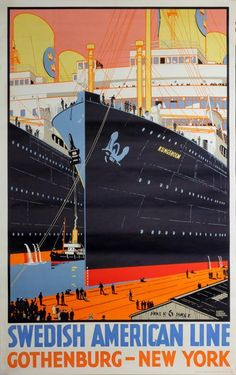 Poster: Swedish American Line - Gothenburg - New York Artist: Harry Hudson Rodmell (1896-1984)
