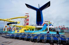 The Carnival Sensation - a waterslide for the kids and deck chairs for mum and dad.