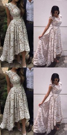 Fashion Scoop Cap Sleeves High-Low Party Dress, Ivory Asymmetrical Lace Prom Dress