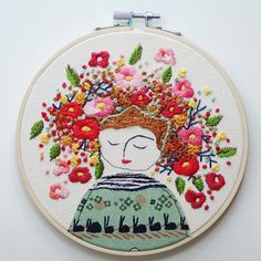 flower lady embroidery