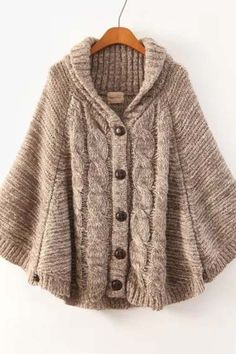 Khaki Batwing Long Sleeve Cardigan Sweater