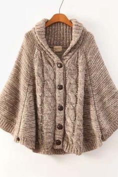 Khaki Batwing Long Sleeve Cardigan Sweater