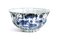 Sotheby's to offer one of the greatest examples of early Ming porcelain in private hands- An Exceptionally Large, Fine And Important Blue And White Lobed 'Fish Pond' Bowl. Mark and Period of Xuande. Porcelain Ceramics, Ceramic Bowls, Mandarin Fish, Art Asiatique, Pond Design, Blue And White China, Chinese Tea, Chinese Ceramics, Fine China