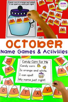 Looking for a fun way for your Pre-K and Kindergarten students to practice their names? Check out our name games and activities! This set of October EDITABLE Name Games and Activities will help your Pre-K or Kindergarten students with hands-on, FUN name practice this Halloween or fall season! Kindergarten Writing Activities, Kindergarten Centers, Literacy Skills, Literacy Centers, Learning Activities, Kids Learning, Autumn Activities For Kids, Halloween Activities, Student Crafts