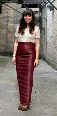 Long burgundy leather hobble skirt