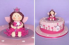 Fairy Cake Fondant Cakes, Cupcake Cakes, Cake Models, Cake Decorating For Beginners, Baby Birthday Cakes, Gula, Angel Cake, Fairy Cakes, Sugar Art