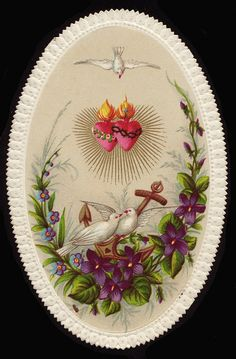 Doves and the Heart of Jesus and Mary