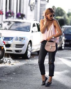 Perfect your casual Friday look via @aylin_koenig's silk cami and distressed denim combo | Shop her look with www.LIKEtoKNOW.it |…