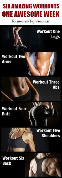 Home workout plan featuring 6 great workouts! One body area a day for 6 days; try it out here! | Tone-and-Tighten.com