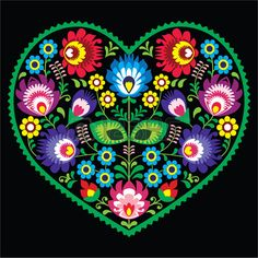 Polish folk art art heart with flowers - Wycinanki on black