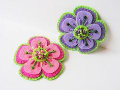 Felt Flower Brooch Bead embroidery Brooch Pink by MisPearlBerry, $18.00