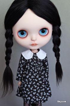 Little Wednesday Addams Wednesday Addams, Gothic Dolls, Cute Dolls, Big Eyes, Blythe Dolls, Beautiful Dolls, Fascinator, Disney Princess, Handmade
