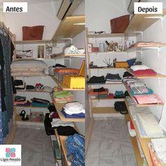 Eu sempre me surpreendo todas as vezes que um #closet é organizado seguindo os devidos processos pois #espaços surgem onde antes achávamos que as coisas não cabiam. #ligiapessoaorganizer #roupas #calcas #vestidos #maquiagem #organizacao #qualidadedevida