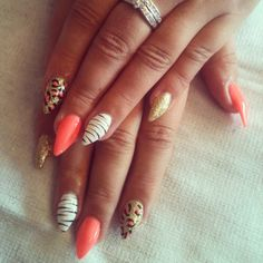 #bright #gelish #orange #allabouttheglow #stiletto #summer2013 #leopard #zebra #white #glitter #love #doncaster #gorgeousnailacademy