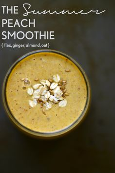 Peach ginger oat smoothie. This smoothie celebrates summer by putting seasonal fruits in the spotlight. It's accompanied by unique flavors that also pump up the healthiness factor.
