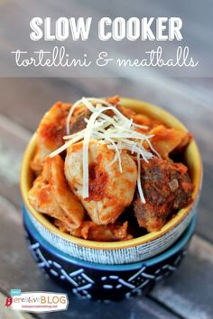 Easy Slow Cooker Tortellini and Meatballs Recipe | Slow Cooker Sunday | TodaysCreativeBlog.net