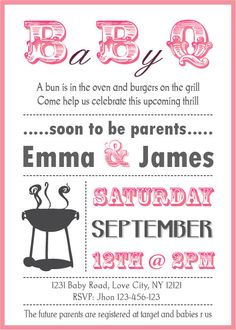 "Baby Shower BBQ invitation couples   boy or girl by PartyJony, $6.90 could make this a gender reveal party and would specify ""no gifts please"" at the bottom"