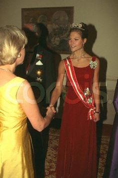 Crown Princess Victoria wore the 4-Button Tiara for a dinner gala during the Austrian State Visit to Sweden in September 1997.